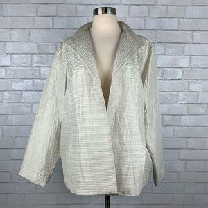 Eileen Fisher Crinkle Silk Open Front Jacket P2751